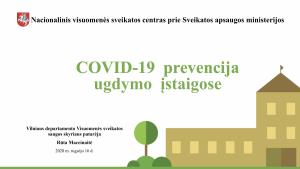 COVID-19 prevencija ugdymo įstaigose